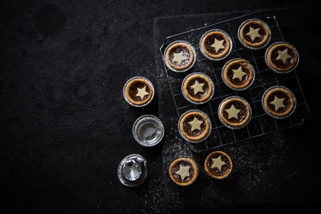 Traditional Christmas mince pie, from above