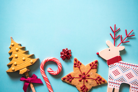 Christmas festive sweets food background with copy space Stok Fotoğraf