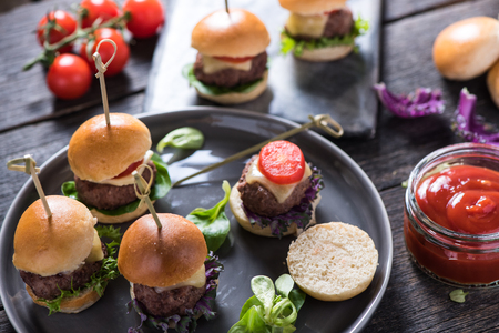 pub food, mini beef burgers with cheese
