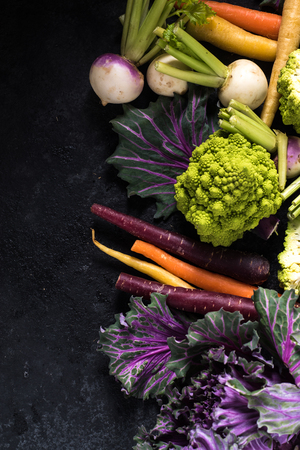 market fresh vegetables border background, overhead