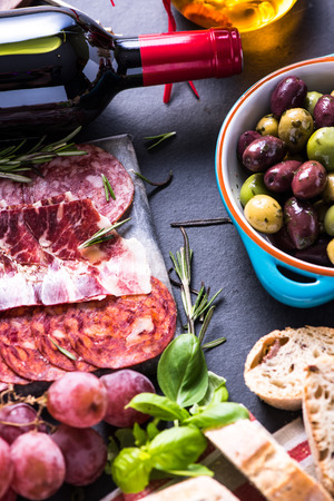 traditional spanish tapas with red wine Reklamní fotografie - 47857703