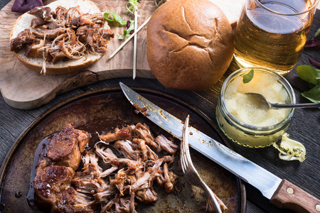 Slow roasted pulled pork sandwich with cider