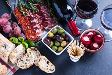 spanish tapas, food border background overhead view Stock fotó - 47857727
