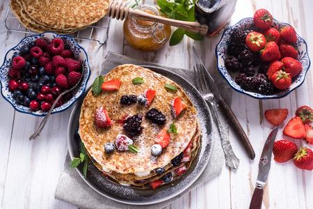 pancake: Celebrating Pancake Day with crepes, with fruits Stock Photo