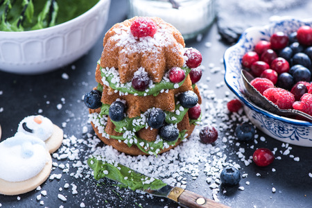decorating christmas tree: Decorating Christmas tree cake with fresh winter berry fruits