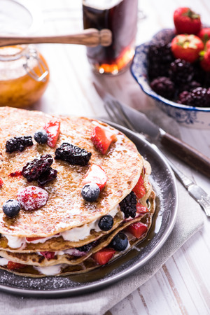 shrove: Shrove Tuesday, pancake day, with berry fruits Stock Photo