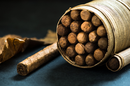 pal: Pile of cigars in pal leafs crafted box, dark background