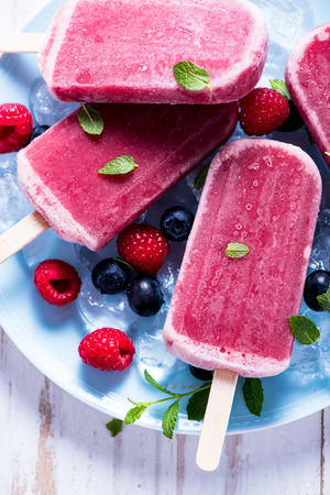 refreshing: Refreshing ice with berry fruits, summer time Stock Photo