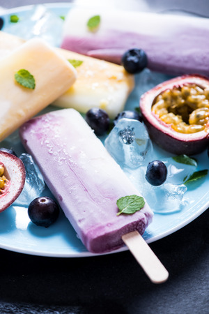 refreshing: Healthy refreshing snack, fruity ice, dieting concept Stock Photo