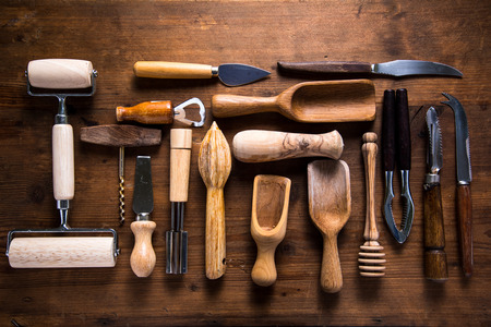 vintage timber: Vintage and retro kitchen untesil on wooden background, from above