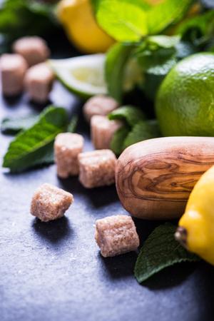 refreshing: Ingredients for homemade summer refreshing lemon drink
