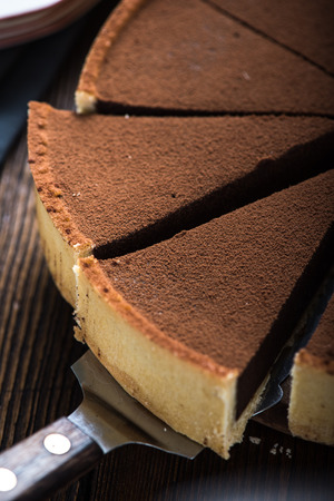 tort: Chocolate cake sliced from above with fresh cocoa