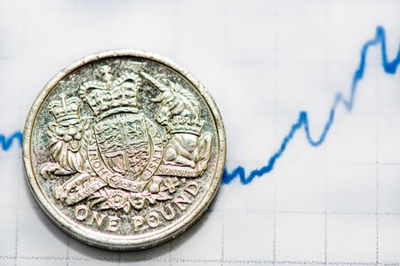 uk money: Growning economy in UK, pound coin and financial graph