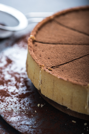tort: Serving portion of chocolate cake with fresh cocoa Stock Photo