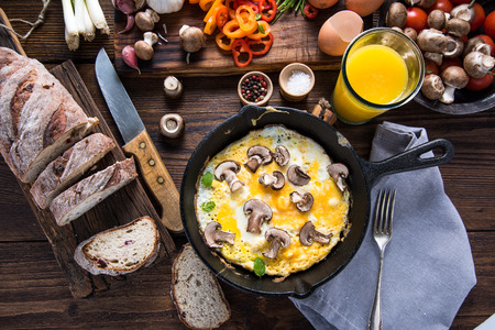 continental: Healthy and classic brunch, simple scrambeld eggs with mushrooms