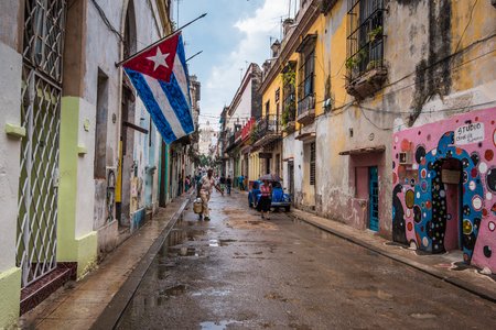Havana, Cuba - September 22, 2015: Classic city street view in colonial Havana,Cuba. Daily life in Old Havana district.
