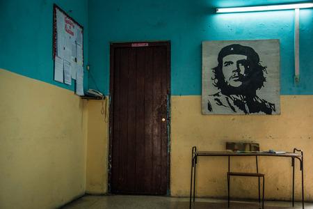 national hero: Havana, Cuba - September 25, 2015: Che Guevara painting on old building wall, Che Guevara is Cuban national hero.