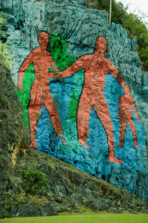 prehistory: Prehistory Wall , Murale de la Prehistoria painted on rocks in Vinales, Cuba