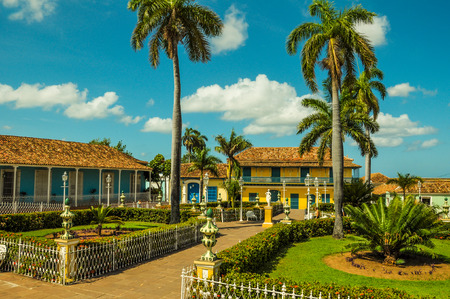 central square: Old central square in colonial city of Trinidad, Cuba