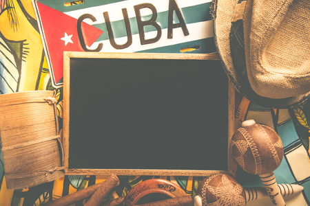 bandera panama: Items related to Cuba travel with copy space chalkboard