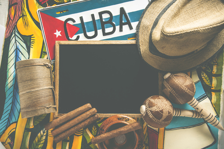 Travel to Cuba concept background with copy space, cross processed photo