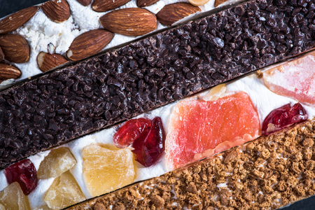 nougat: Traditional italian nougat bars, overhead, food background