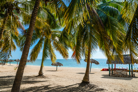 view from behind: Summer white sand beach view from behind palm leaves Stock Photo