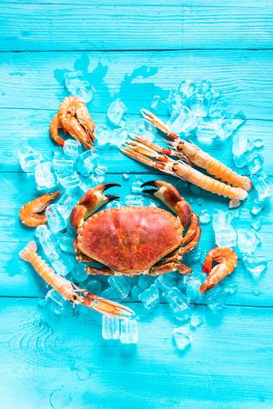 Fond de nourriture de mer d'en haut, couleurs vibrantes