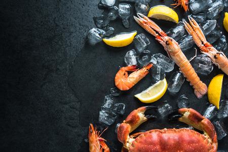 Whole fresh sea food dark background, with lemon and ice cubes Reklamní fotografie - 50412385