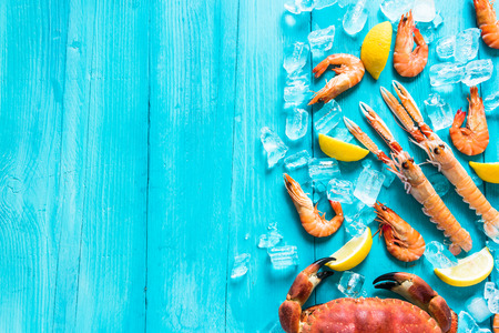 Vibrant whole sea food background