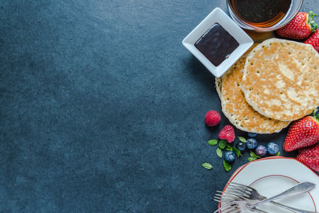Traditional pancakes, food border background, overhead view Reklamní fotografie