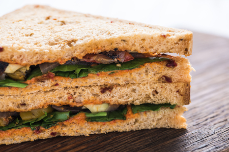 sandwich bread: Healthy sandwich on wooden board