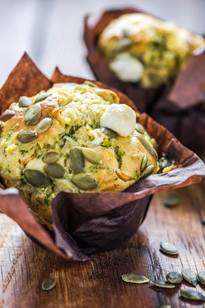 healthy snack: Healthy snack, pumpkin seed and feta muffin