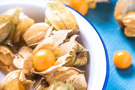 edible plant: Organic and exotic physalis fruit in rustic enamel bowl on kitchen table.