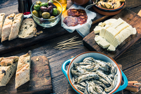 spanish tapas: Tonned picture of authentic street spanish tapas Stock Photo