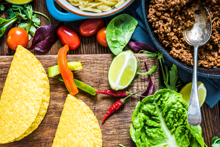 ethnic food: Mexican tacos with guacamole, traditional ethnic food.