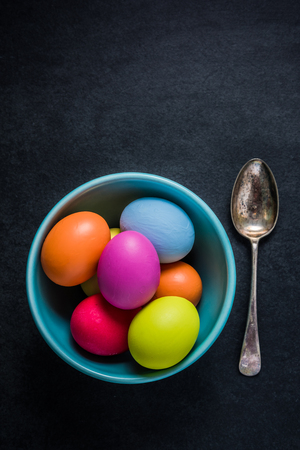 Traditional Easter eggs in bowl, Easter concept , view from above.