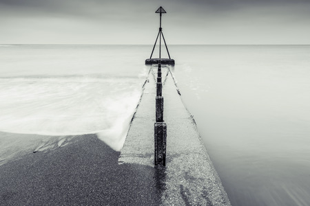 sea scape: Fine art long exposure black and white sea scape, minimalistic design with horizon line. Stock Photo