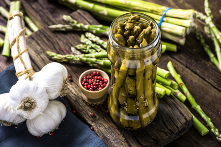 farmers market: Grilled and pickled asparagus, fermented food. Healthy eating concept. Stock Photo