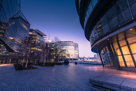 southwark: Southwark in London,business offices at sunrise with filtered effect.