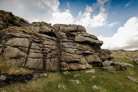 granite park: Granite outcrop Tor in Dartmoor National Park, UK.