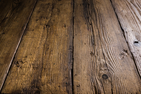 Antique grunge wood background. Negative space for text, presentation or display product template. Archivio Fotografico