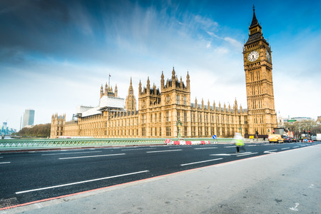 morning blue hour: House of Parliament from Westminster Bridge at sunrise, panoramic view Stock Photo