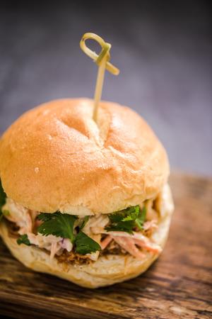 bap: fresh pulled pork burger or bap with coleslaw salad
