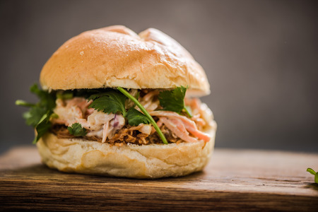 gastro: Pulled pork bun and coleslaw, copy space background for price list or recipe Stock Photo