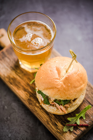bap: traditional pub food, pork bap served with local Ale or cider Stock Photo