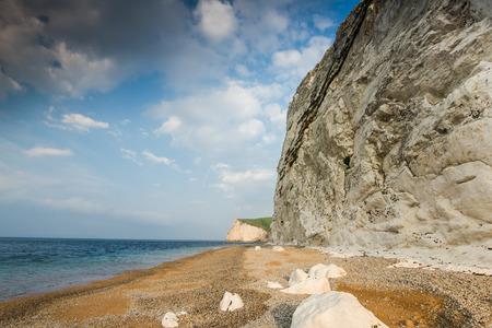 jurassic coast: white cliffs at prehistoric Jurassic coast in Dorset, UK Stock Photo