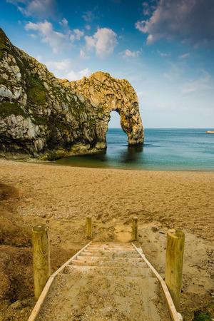 durdle door: Durdle Door famous rock formation in Dorset Jurassic heritage coast Stock Photo