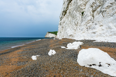 jurassic coast: white cliffs on beach in Dorset Jurassic coast, English heritage
