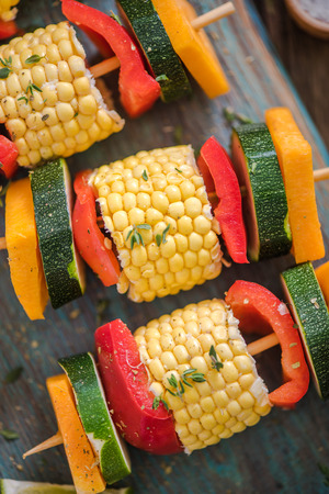 haloumi: colourful and vibrant bbq food on table, view from above